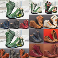 Christms Womens Flat Leather Retro Lace-up Boot Side Zipper Round Toe Shoe Boots