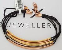 GOOIX Edelstahl tricolor Damen Armband Lederband dunkelbraun 5 Bändchen NEU 179
