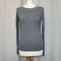 GHOST LONDON Grey Knit Jumper (Size M/UK 10-12) Lambswool Cashmere Sweater