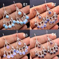Mother's Day Larimar Labradorite Moonstone Garnet 925 Silver Earring av0037
