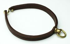 "12"" Genuine Leather Dog Collar, Copper Buckle 360 Degree Rotating Ring DK BROWN"