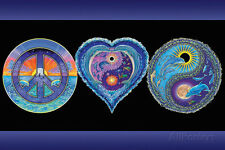 Peace Love and Happiness Blacklight Poster Print, 36x24