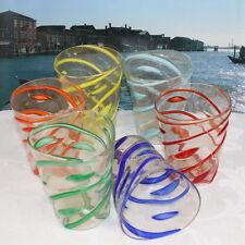 """VETRO DI MURANO set 6 bicchieri pagliaccio """" goti da Fornase"""". MURANO GLASS"""