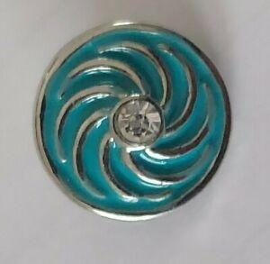 12mm mini petite snap charm for GingerSnap jewelry-Blue Swirl with Rhinestone