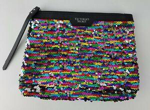 Victorias Secret Rainbow Reversible Silver Sequins Zip Cosmetic Bag Pouch Clutch