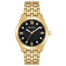 Bulova Men's 97D113 Diamond Markers Gold-Tone Black Dial Bracelet 44mm Watch