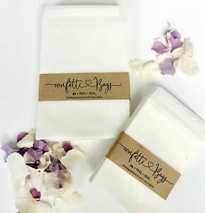 Confetti wedding Bags Glassine  25/50 Peel + Seal - favours - Stamps-Soaps SIZE