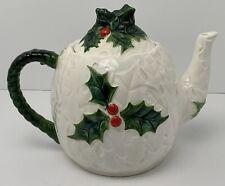 Vintage Teapot Lefton 6063 White Holly Leaves Berries Ceramic 1970-71 Holiday