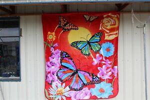 BUTTERFLY BUTTERFLIES FLOWER FLOWERS QUEEN SIZE BLANKET