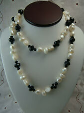"""Vtg 36"""" White Baroque Pearl Black Faceted Crystal 925 Sterling Silver Necklace"""