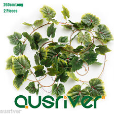 2Pcs Pack 260cm Artificial Grape Leaves Leaf Vine Fake Foliage Artificial Plant