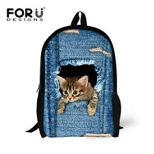 Cat Blue Pet Backpack Women Kids Shoulder Bookbag School Travel Rucksack Student