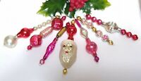 Mercury Glass Bead Icicles 7 Christmas Ornaments RARE SANTA INDENT Red Pink vtg