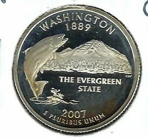 2007-S San Francisco Silver Proof Washington State 25C Quarter Coin!