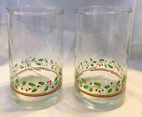 VTG Arbys 1984 Christmas Glasses Set of 2 Holly Berry SwIrl  NO GOLD TRIM