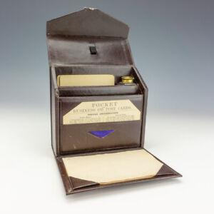 Antique Burgundy Tooled Leather - Pocket Travel Inkwell & Writing Set Box