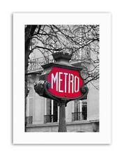 Landmark composizione METRO segno PARIS FRANCIA POSTER Retrò STAMPE SU TELA ART