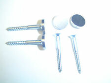 """MIRROR SCREWS AND FLAT SATIN COVER CAPS SIZE 8 X 1 1/2"""" PACK 4"""