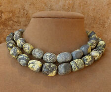 YELLOW GREY BLACK AFRICAN TURQUOISE 2 STRAND NECKLACE GOLD OR SILVER LG JEWELRY