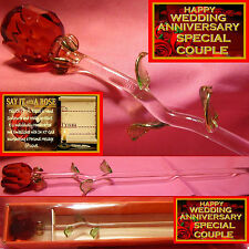 RED ROSE GLASS FLOWER SPECIAL COUPLE HAPPY WEDDING ANNIVERSARY PRESENT GIFT