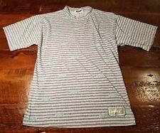 Vintage Mens Medium Lightning Bolt Hawaii Surf Shirt Gray Stripe 1990s