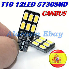 2 BOMBILLAS LED COCHE CANBUS T10 W5W 12 SMD 5630 2 CARAs COLOR BLANCO #2013