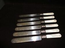 LANDERS FRARY & CLARK 6 MOTHER OF PEARL HANDLE KNIFES