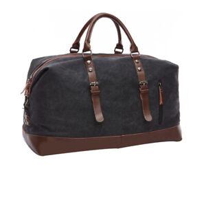 Vintage Men's Canvas Leather Travel Duffle Bag Shoulder Weekend Luggage 3 Colors