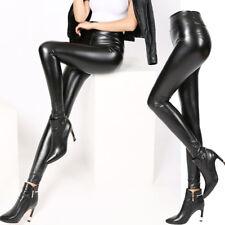 High Waist Leggings Mat Wet Look Latex Faux Imitation Leather Full Length Pants