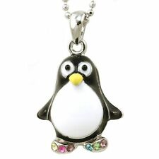 "NEW MULTI CRYSTAL B&W PENGUIN PENDANT NECKLACE W/ 17"" CHAIN"
