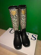 Genuine GUESS knee length long Rain Boots Wellies Black & Leopard Animal Print 5