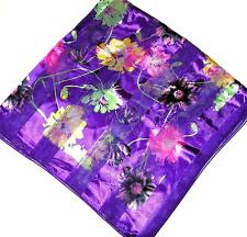 SCARF Large Square Purple Background Pink Yellow Green Floral PRETTY FLOWERS