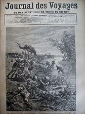 Zeitung der Voyages Nr. 244 Indien Trincomalec Jagd den Alligatoren 1882