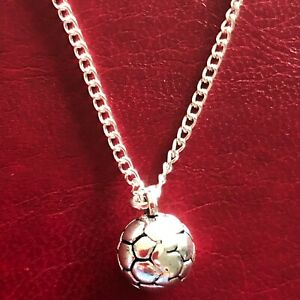 FOOTBALL CHARM NECKLACE PENDANT BOYS MENS JEWELLERY 16 18 20 silver plated chain