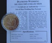 2007 SILVER PROOF ISLE OF MAN 1 CROWN COIN + COA QUEENS DIAMOND WEDDING PORTRAIT