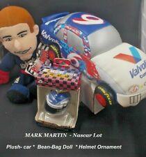MARK MARTIN  LOT Nascar car doll  Helmet Ornament 1999  -2001