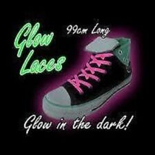 GLOW IN THE DARK SHOE LACES IN PINK 99CM LONG NOVELTY FUN GLOWING TRAINER LACE