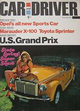 Car & Driver 12/1968 featuring Opel GT, Mercury Marauder road test, Toyota