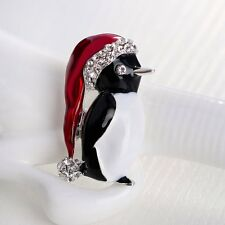 Unique Crystal Rhinestone Hat Penguin Enamel Brooch Pin Women Costum Jewelry New