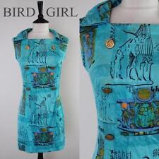 NOVELTY TUTANKHAMUN EGYPTIAN PRINT 60S VINTAGE BLUE COTTON MOD MINI DRESS 12