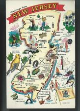 "c1960 GREETINGS From NEW JERSEY State Map NJ Postcard (3.5"" x 5.5"")"