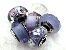 6 Pandora Murano Silver Charm Faceted Flower Blue & White Glass Beads #h4