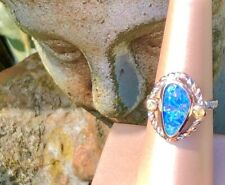 Twisted Rope Balanced Halo Point Ring Natural Australian Opal Golden 7 Ladies 0