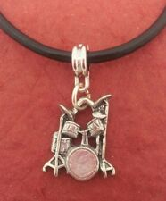 Drum Set Necklace Charm Pendant and Leather Necklace Show you love drumming