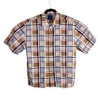 Trust Plaid Short Sleeve Shirt Mens XXL Linen Rayon Button Up Red Blue Tan 2XL