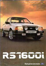 Ford Escort RS 1600i Mk3 1982-83 UK Market Foldout Sales Brochure