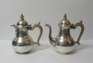 Pair Heming & Co. Britannia Silver Cafe au Lait Pots, c. 1935, 1300 grams