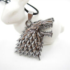 Stainless Steel Wolf Head Game Of Thrones Pendant Leather Chain Necklace