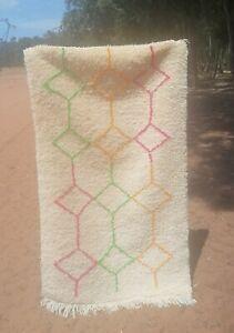 زMoroccan rug, handmade wool rug, vintage berber rug, beni ourain carpet, tapis