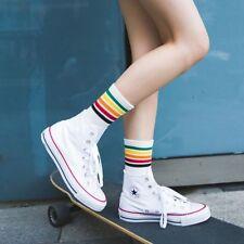 Girl Striped Fashion Casual Rainbow Socks Sport Stockings Hosiery
